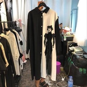 Image 3 - [EWQ] 2020 אביב סתיו חדש Loose ארוך שרוול הדפסת שחור לבן טלאים דש יחיד חזה Loose חולצה שמלה נשים AA250