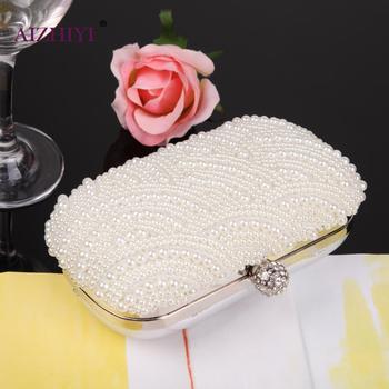 Fashion Luxury Crystal Pearl White Evening Clutch Bags Women Elegant Minaudiere Handbag Wedding Party Lady Purse Bag Hot Selling