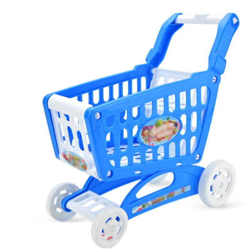 Mini Plastic Shopping Trolley Kid Toy Cart Supermarket Utility Storage Desk Tidy