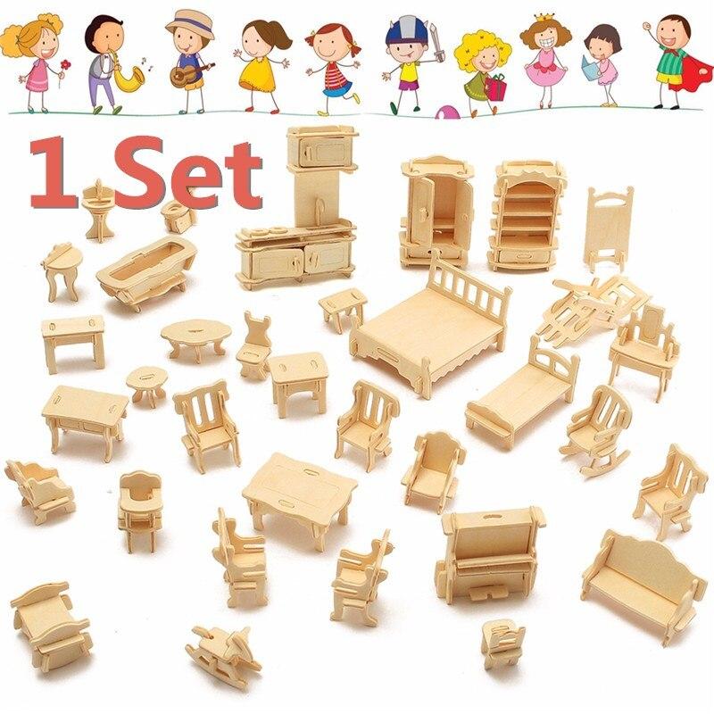 Humor 34 Pcs Diy Houten Miniatuur Dollhouse 3d Meubels Model Voor Kinderen Kids Speelgoed Hout Diy Ambachten Naaien Leuke Mini Huis Stevige Constructie