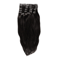 YONNA Remy Human Hair Clip in Extensions Double Weft Long Soft Straight 10 Pieces Thick to Ends Full Head