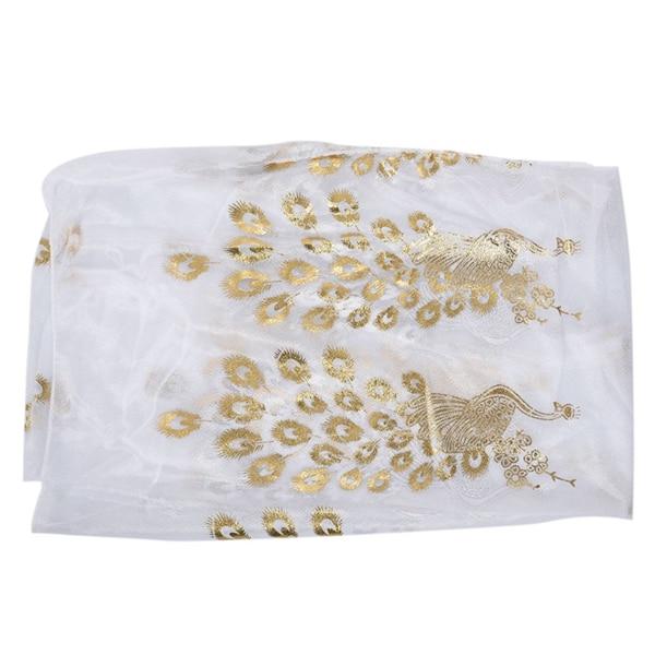 1pcs Fashion Women Gold Peacock Flower Print Long Soft   Scarf     Wrap   Shawl   Scarves   Stole White