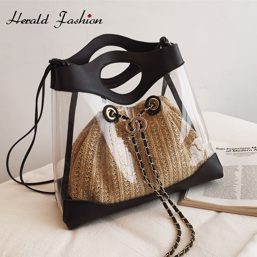 Herald Fashion Transparent Chain Female Shoulder Bags Women Clear Bucket Bag Knitted Straw Summer Beach Bag Ladies Messenger Bag