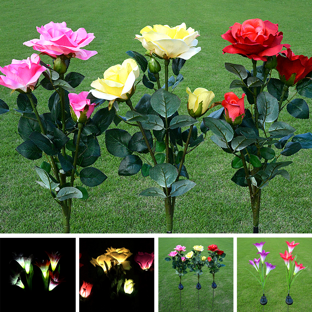 Artificial Solar Power Sunlight Lily Rose Flower Garden LED Light Decoration And Best Decoration For Party (red)