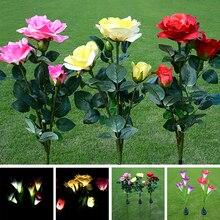 מלאכותי שמש כוח אור שמש שושן עלה פרח וחמניות גן LED אור קישוט הטוב ביותר קישוט למסיבה (אדום)
