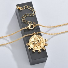 MESTILO 2019 Vintage Fashion Women Sexy Jewelry Gold Color Geometric Round Cameo Pendant Necklace For Women Girls Kolye Jewelry(China)