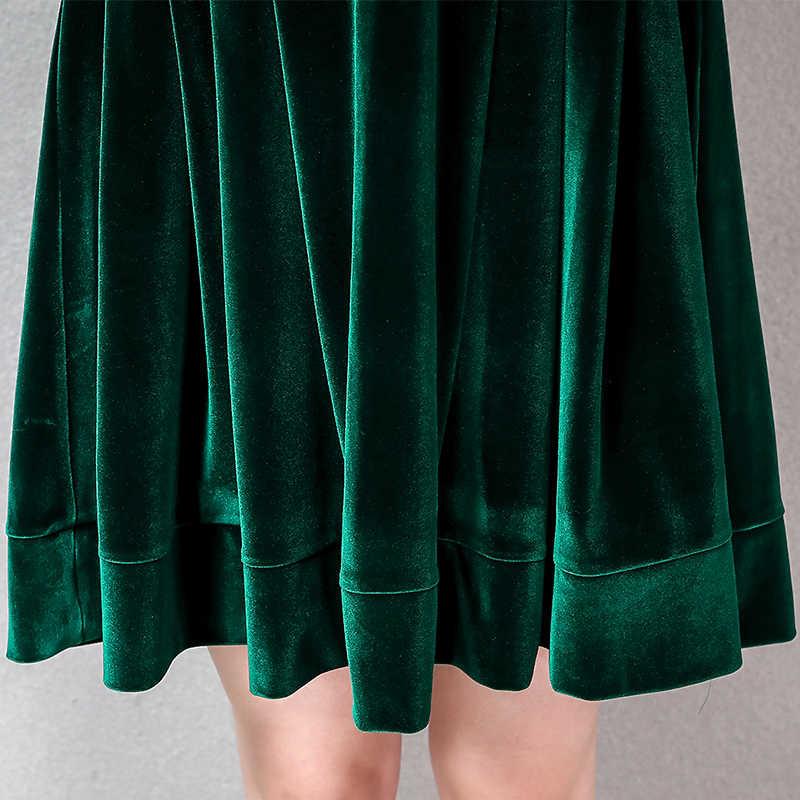 Nerazzurri ชุดกำมะหยี่ผู้หญิงจีบ warm สีดำสีเขียวแขนยาว velour ชุดปุ่มเข่าความยาว plus ขนาดชุดฤดูใบไม้ร่วง 6xl 7xl
