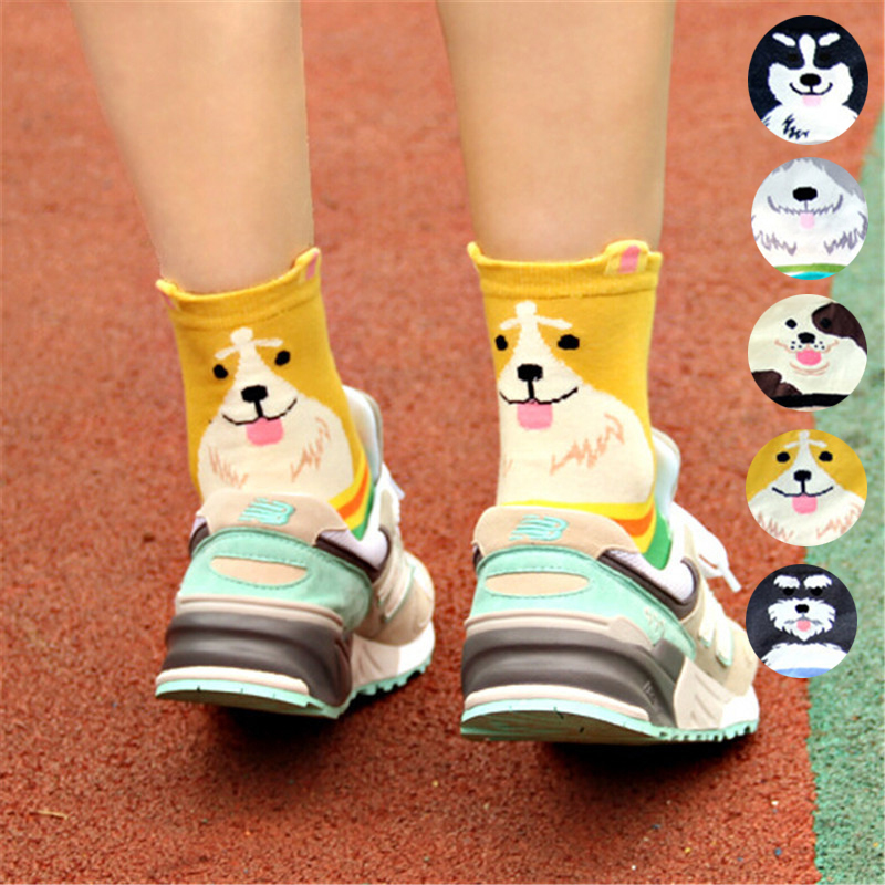 V-Hanver High Quality Women's Lovely Cartoon Socks Autumn-winter Funny Animal Socks Fashion Ladies Cute Cotton Dog Sock Women