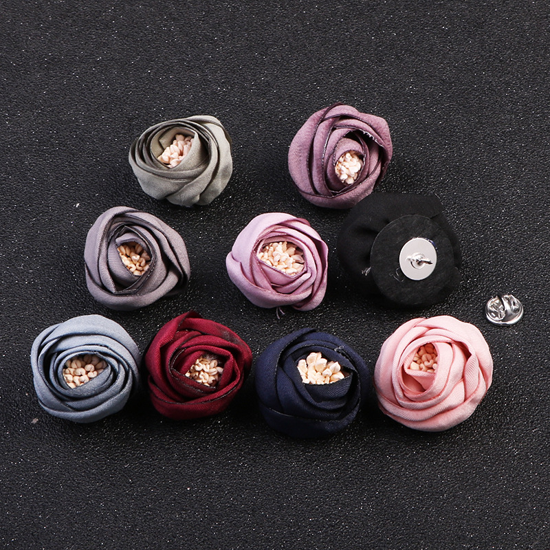 Fashion Fabric Flower Brooch Needle Lapel Pin Cloth Art Women's Scarf Buckles