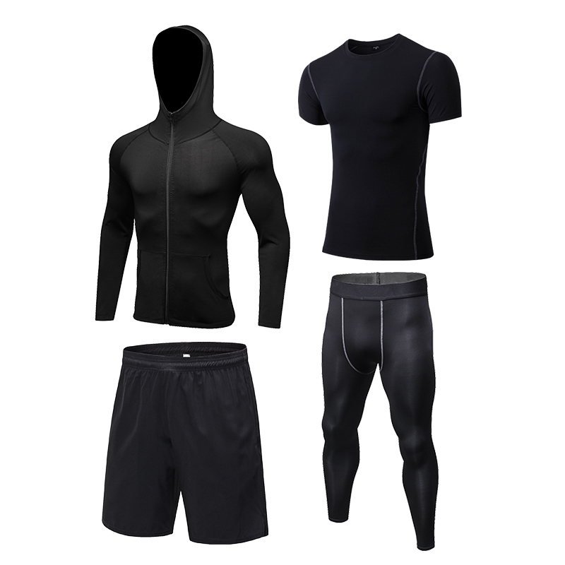 Yuerlian Новые 4 комплекта мужской осенний Спортивная одежда для бега быстросохнущая футболка + молния с капюшоном куртка + свободные шорты + узкие брюки - 3