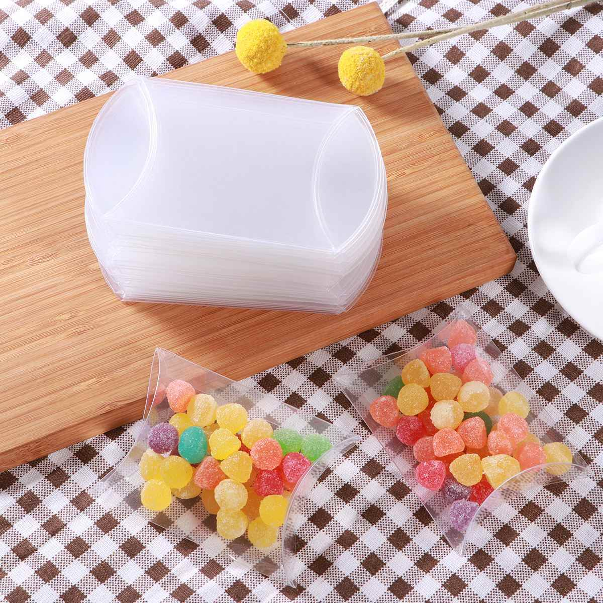 Paper Gift Box 50pcs Pillow Shape Candy Box Small Lightweight Creative PVC Transparent Storage Case Candy Box Container