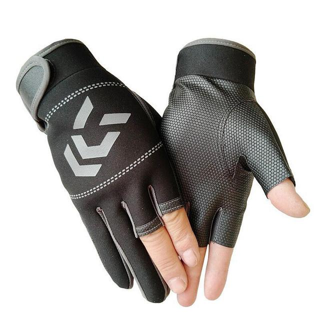 Outdoor Non   Slip Fishing Protection Against Stab Wounds Mens Three   Finger Fishing Gloves High   Quality Outdoor Breathable