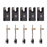 Fiddle Violin Bow Ebony Frog & Screw Set with Beautiful Pattern for 4/4 Violin Bow, Pack of 5 sets