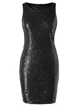 Plus Size Sequins Dress Women Black Sleeveless O Neck Bodycon Mini Dresses Big Summer 2019 Clothing