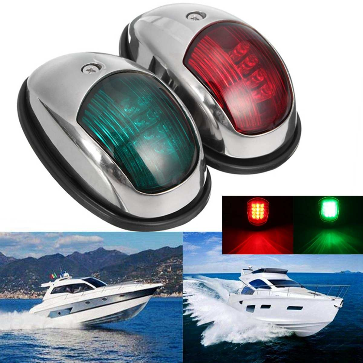 Pair 12V LED Navigation Lamp Marine Port Side & Starboard Light For Boat Chandlery / Boat / Yacht Stainless Steel