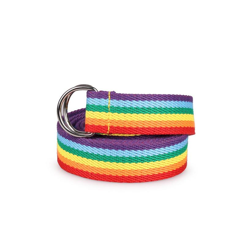 Women's Double Ring D Type Buckle Rainbow Strip Casual Wild Decorative Canvas Belt Unisex Plain Webbing Belt Waistband Circle