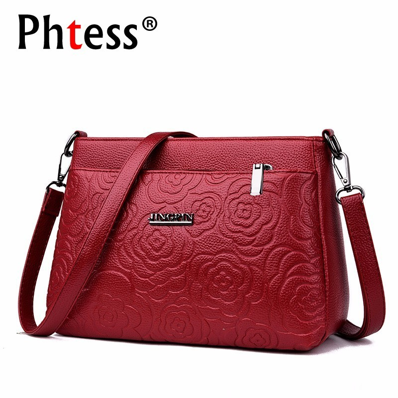2019 Women Messenger Bags Small Leather Shoulder Bag Female Sac A Main Vintage Bags For Girls Envelope Flower Crossbody Bag New