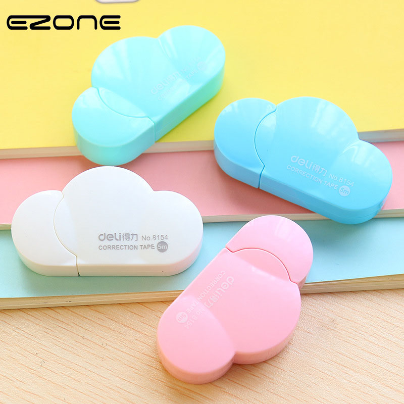 EZONE 5M Cloud Shape Correction Tape Blue Green Pink White CanY Color Creative Students School Stationery Convenient Press