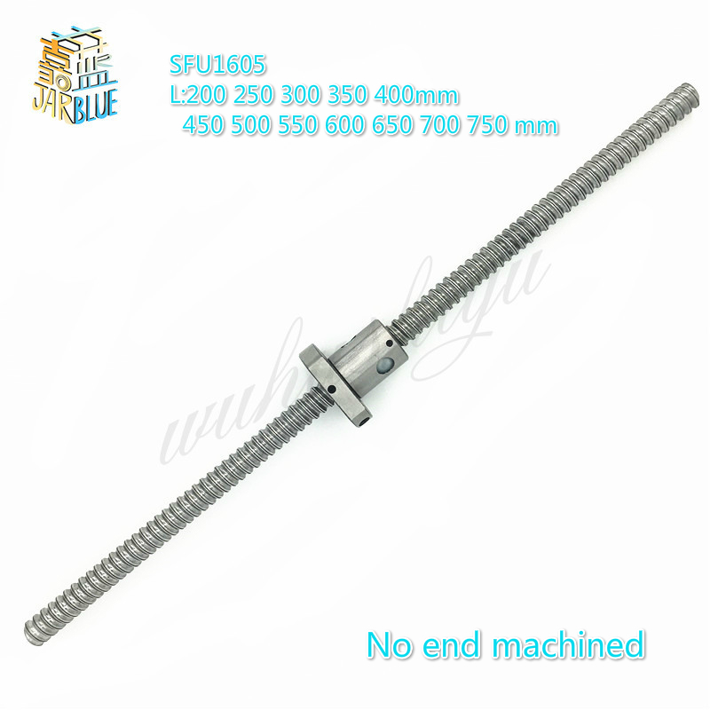 NO MACHINED SFU1605 200 250 300 350 400 450 500 550 600 650 700 750 mm ball screw with flange single ball nut CNC parts цены