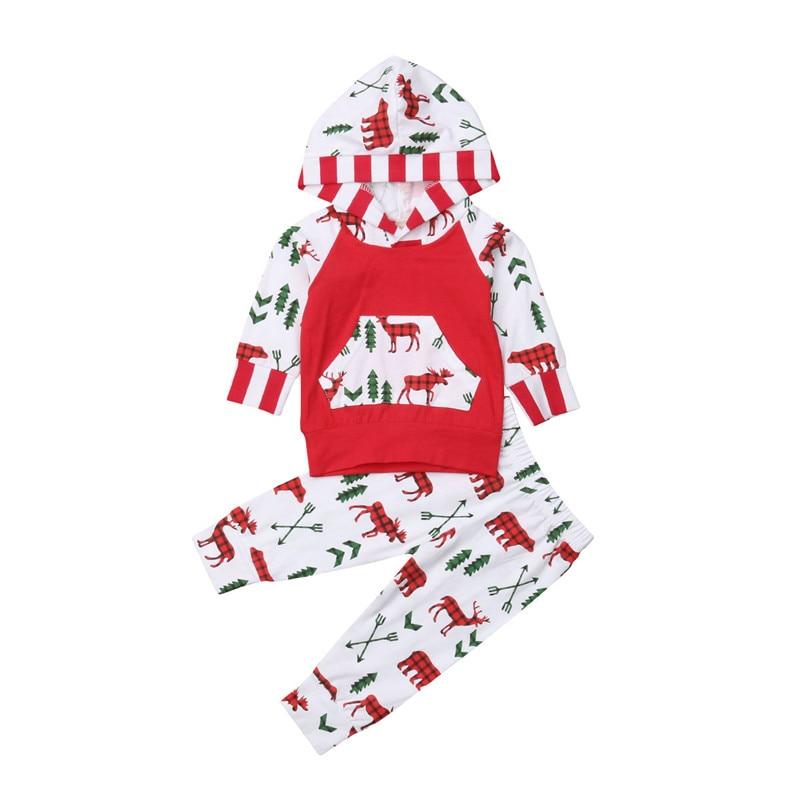 2018 New Christmas Infant Baby Boy Girl Clothes Set Autumn Hooded Long Sleeve Pocket Tops Pants Boys Girls 2PCS Xmas Outfits