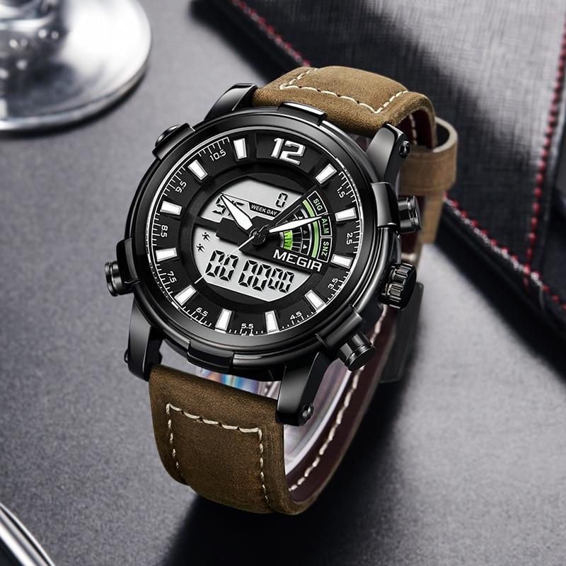 Dual Display Digital Men Watch MEGIR Sport Analog Quartz Watches Relogio Masculino Reloj Hombre Army Military Wristwatches Hour