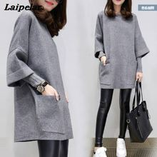 2018 Autumn and winter new large size womens fat MM loose stitching long-sleeved jacket long solid color shirt round neck sweat