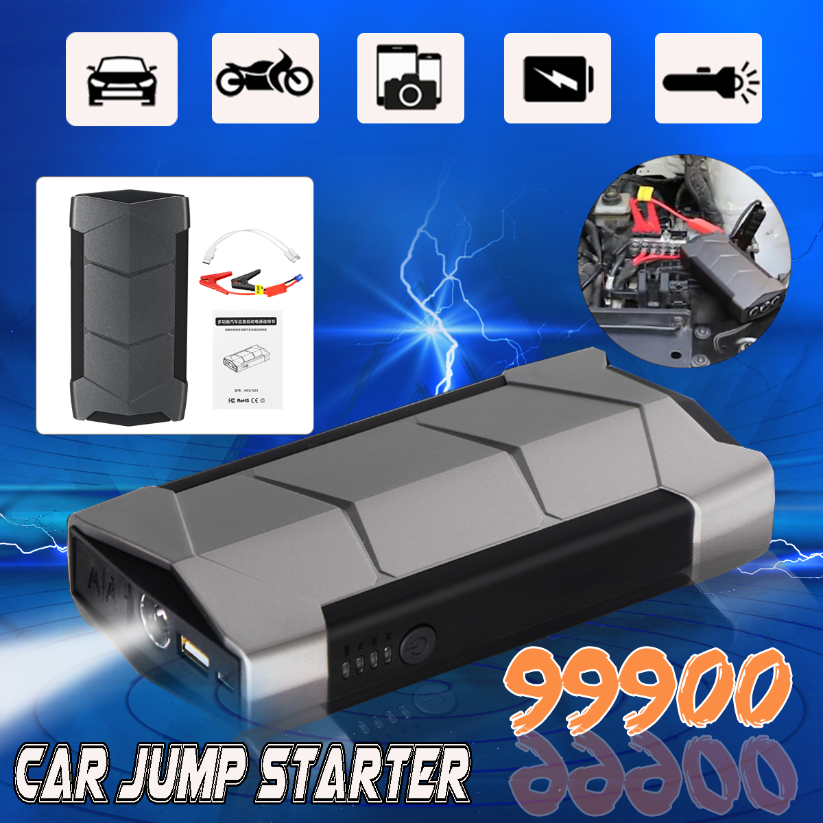 Mini Portable 12V 99900mAh Car Jump Starter Battery USB Charger Emergency Power Bank SOS LED Torch Light For Starting Device