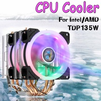 Dual Tower CPU Cooler 4 HeatPipe 4pin Two 90mm RGB Fan for Computer Processor Cooling Fan Cooler for Intel 775/1150/1151 for AMD