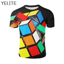 YELITE Geometry Rubiks cube toy 3D T Shirt Men Tshirt Summer T-Shirt Casual Tops Short Sleeve Tee Male Streetwear 2019