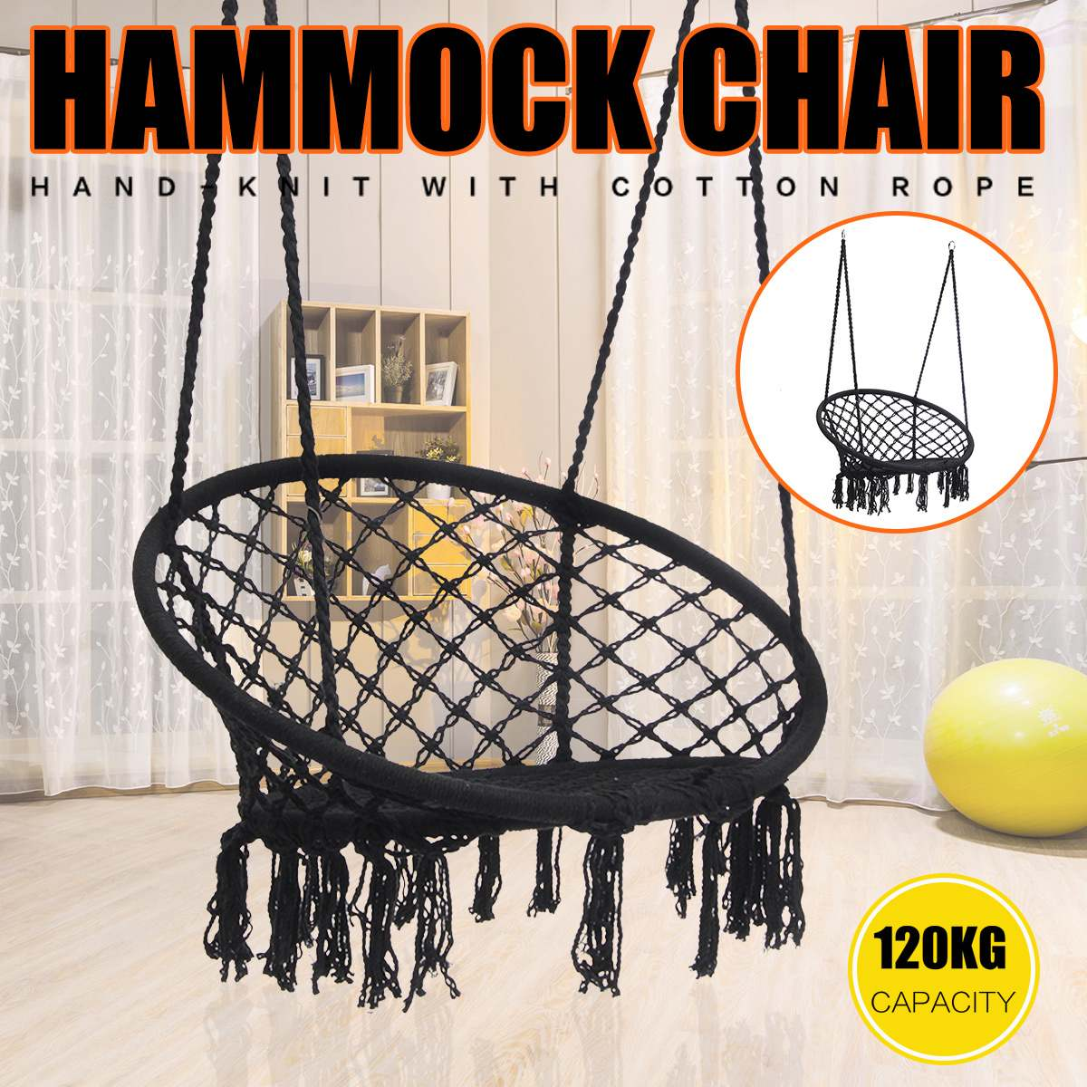 Round Hammock Swing Hanging Chair Outdoor Indoor Furniture