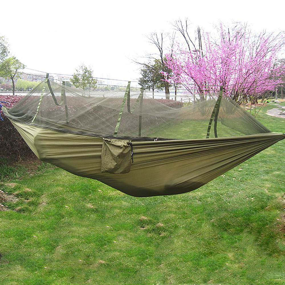 Hammocks Considerate 1-2 Person Portable Outdoor Hammock Camping Hanging Sleeping Bed With Mosquito Net Garden Swing Relaxing Parachute Hammock7