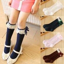 От 1 до 3 лет, детские кружевные носки с бантиком для маленьких девочек, Хлопковые гольфы с бантиком