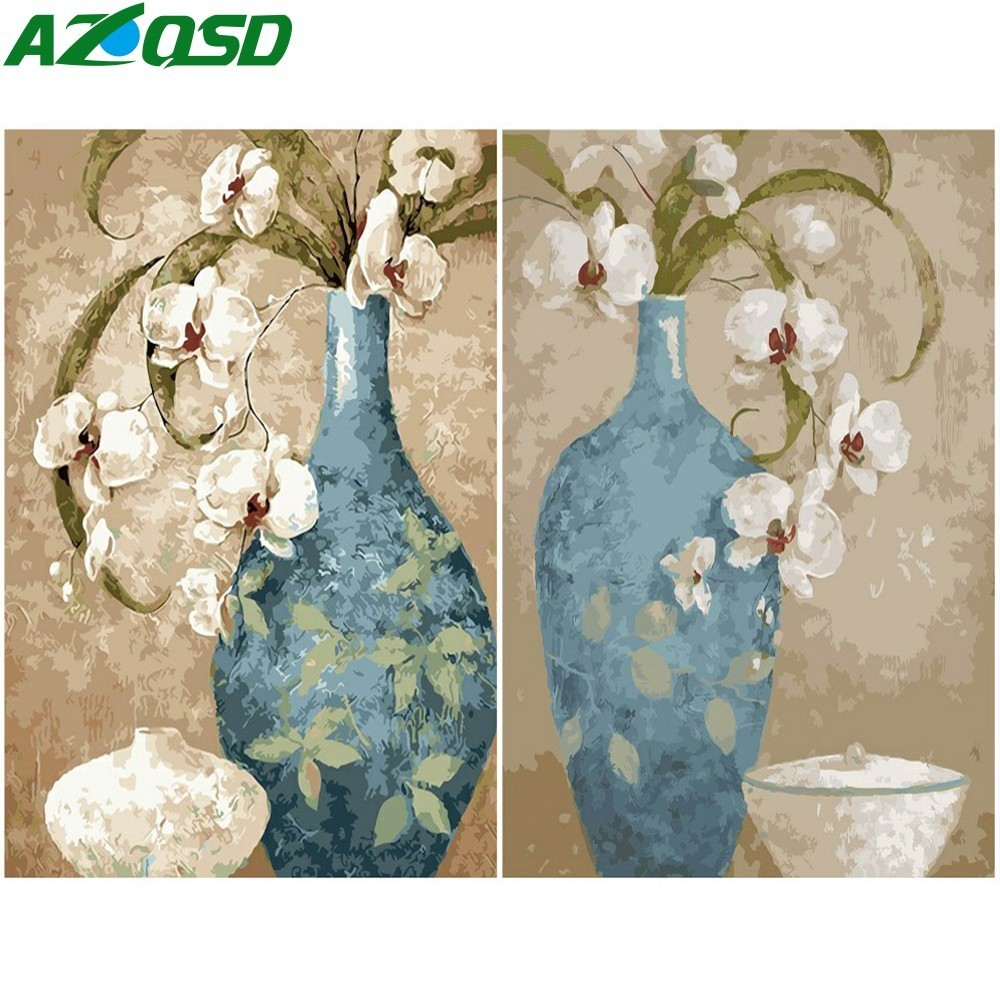 AZQSD Oil Painting Flower In Vase Painting By Numbers Paint Flower DIY Canvas Picture Hand Painted Home Decoration SZYH6210
