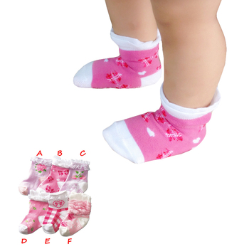 One Pairs Baby Girls 1-2 Years Floral Pattern Lace Short Socks Anti-slip Cotton Socks For Kids Girls image