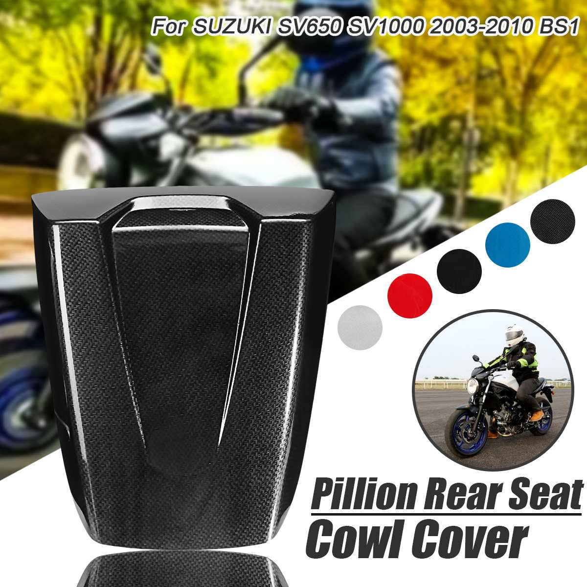 New Motorcycle Pit Dirt Bike Rear Seat Cover Guard <font><b>Fairing</b></font> Cowl For <font><b>Suzuki</b></font> SV650 <font><b>SV1000</b></font> 2003-2010 Rear Passenger Seat Cover Cowl image