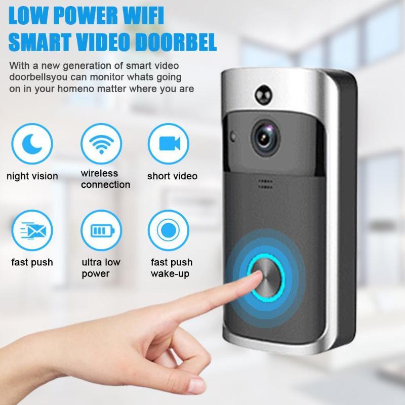 WiFi Smart Wireless Security DoorBell HD 720P Visual Intercom Recording Video Door Phone Remote Home Monitoring Night Vision Doorbell     - title=