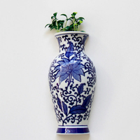 Metope Ceramic Vase Wall Hanging Flower Receptacle Blue And White Porcelain Wedding Home Decoration Accessories