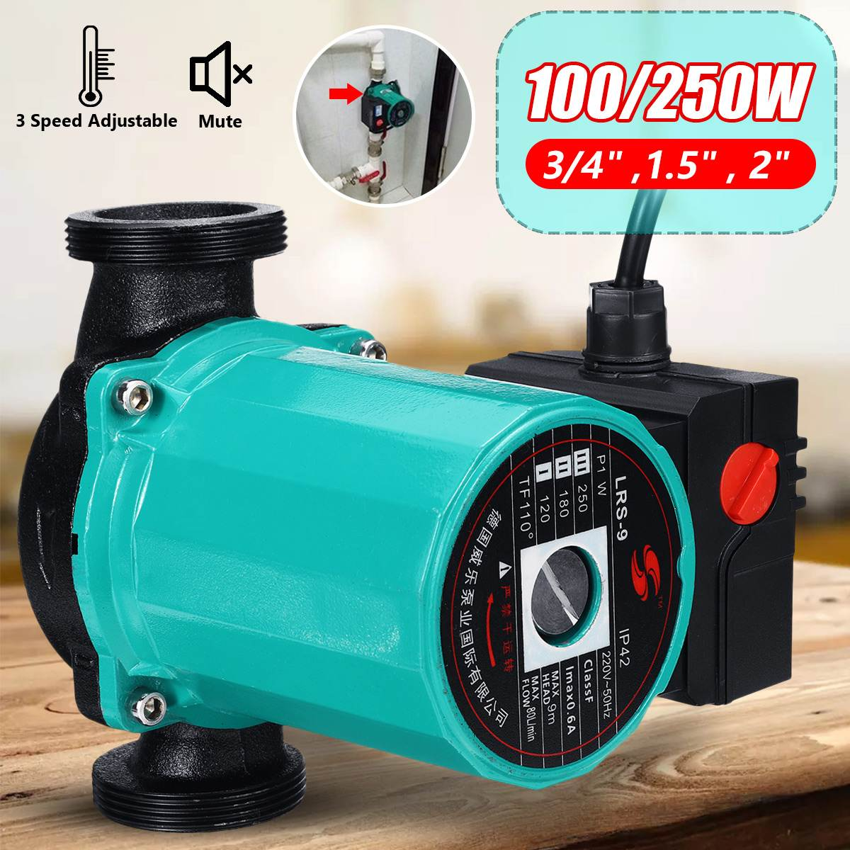 3-Speed 220V Central Heating Circulator Mute Boiler Hot Water Circulating Pump F Class Insulation IP42 Protection Cast Iron