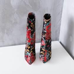 Модная роскошная женская обувь с цветочной вышивкой, ботильоны с острым носком, обувь для верховой езды без шнуровки на тонком каблуке