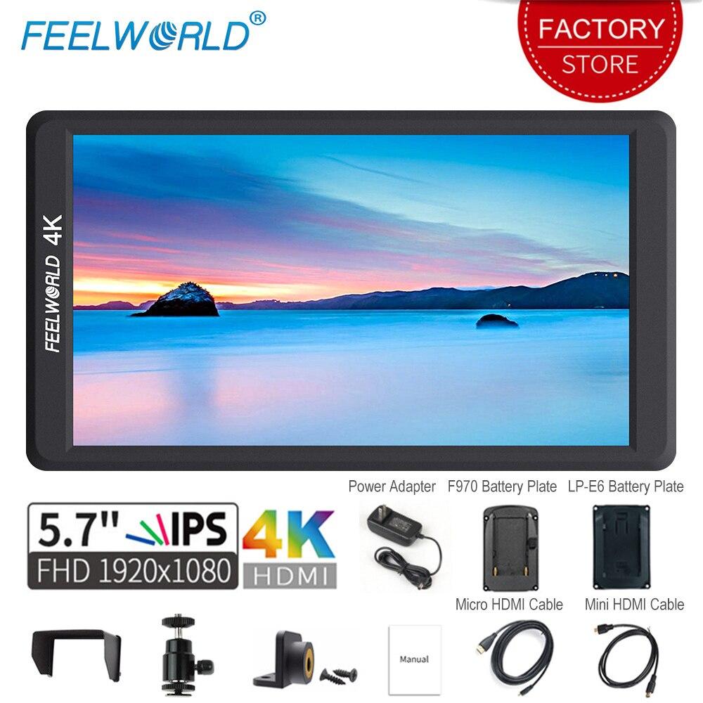 Feelworld F570 5.7 cal na aparat DSLR monitor zewnętrzny 4 K HDMI IPS Full HD 1920×1080 wyświetlacz LCD przenośny dla stabilizator gimbal