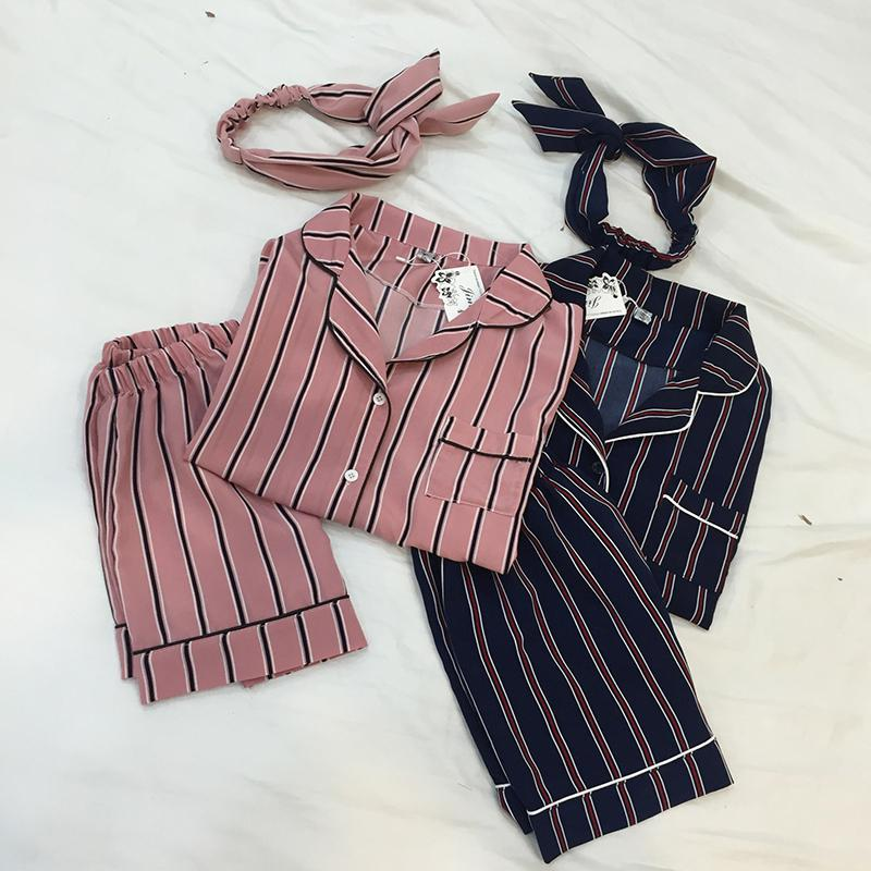 3PCS/  Set   Women Casual Nightdress Sleepwear Vertical Stripe Short-sleeved   Pajamas   + Shorts + Hair Band Home Wear Ladies Underwear