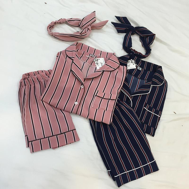 3PCS/  Set   Women Casual Nightdress Sleepwear Vertical Stripe Short-sleeved   Pajamas   + Shorts + Hair Band Home Wear Ladies Underwear