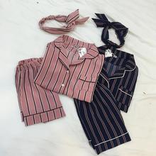 3PCS/Set Women Casual Nightdress Sleepwear Vertical Stripe Short-sleeved