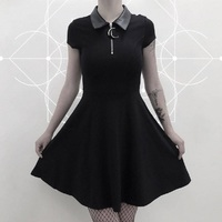 2019 New Fashion Summer Women Dress Peter Pan Collar Punk Black Casual Dressfor Gothic Girl
