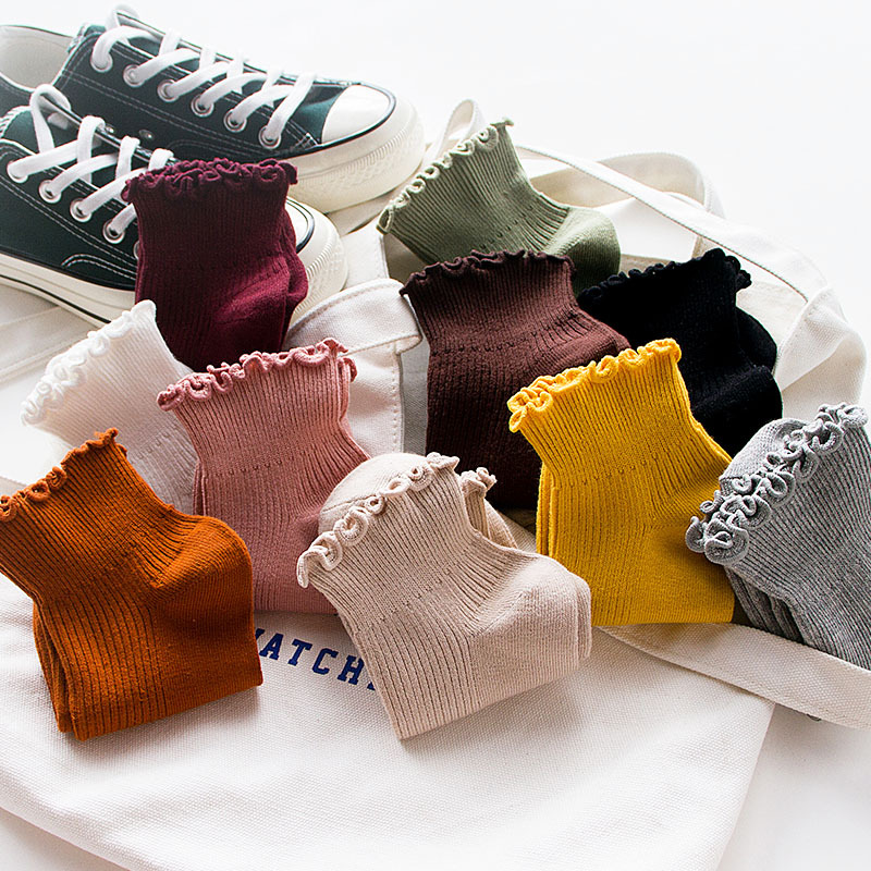 Sale Japanese Harajuku College Wind Cute Women Ankle   Socks   Casual Cotton Girls Sweet Ruffles Princess Student   socks