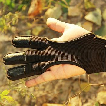 3 palec rękawiczki z dzianiny skórzane elastyczne włókna ochrona rąk rękawice ochronne dla łucznictwo polowanie strzelanie tanie i dobre opinie Pasuje prawda na wymiar weź swój normalny rozmiar