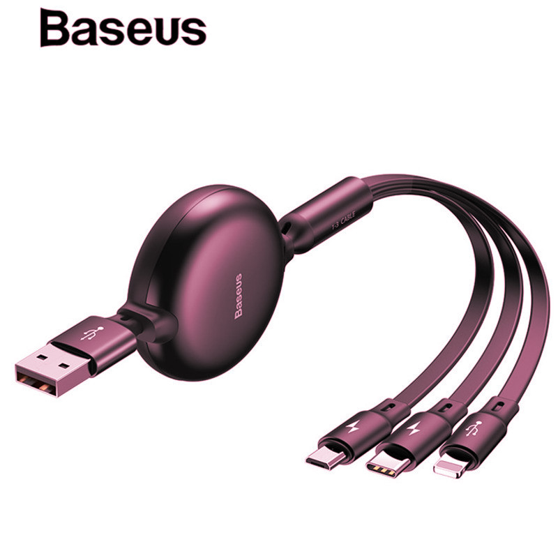 Portable 3in1 Micro USB Type C Cable for iPhone X Xs Adjustable Charing Cable USB-C for Samsung Galaxy S9 S8 Mobile Phone cables