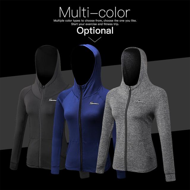 Queshark Women's Running Jacket Autumn Winter Fitness Yoga Training Zipper Jacket Sports Hoodie Shirt Quick Dry Sportswear