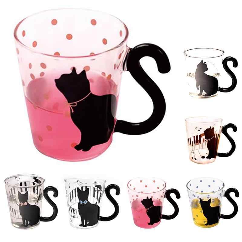 Cute Cat Pattern Clear Glass Mug Water Tea Milk Coffee Drinking Cup Music