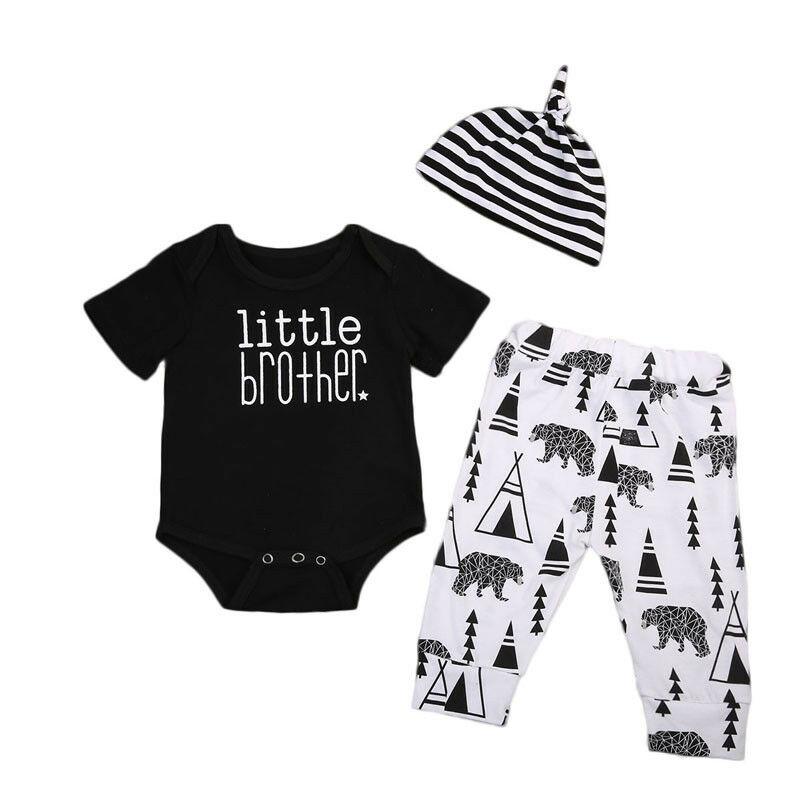 0-18 M Kleinen Bruder Neugeborenen Baby Jungen Kurzarm Baumwolle Body Tops Lange Hose Hosen Hut 3 Pcs Outfits Baby Kleidung Set Exquisite Traditionelle Stickkunst